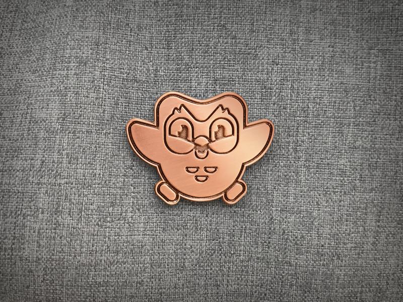 Duo Copper Pin mascot duolingo duo enamel pin