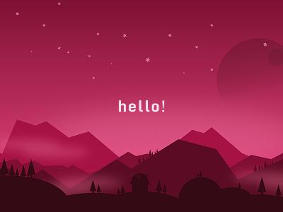 Hello Dribbble! scenery silhouette hello dribbble hello-dribbble debut