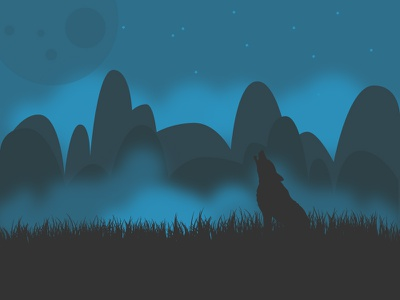 Longing Wolf illustration fog landscape mountain wolf silhouette scenery