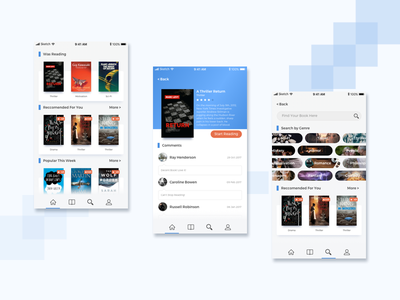 Casual Reading App blue mobile books ideas debut ui ui-exploration