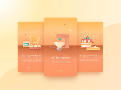 Cookpedia Onboarding fun cooking illustration cook design ui app onboarding