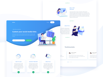 Simple Landing Page clean simple icon landing page blue service illustration website