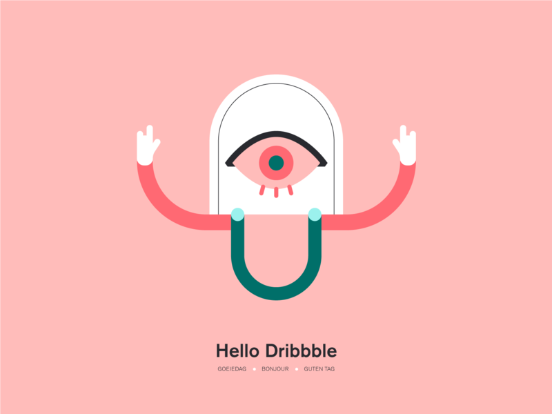 Hello Dribbble debutshot welcome vector illustration