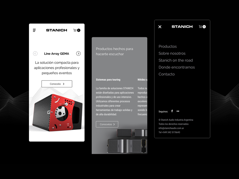 Stanich Audio website minimalist sound shopping cart ux design uidesign uiux black and white speakers website design website