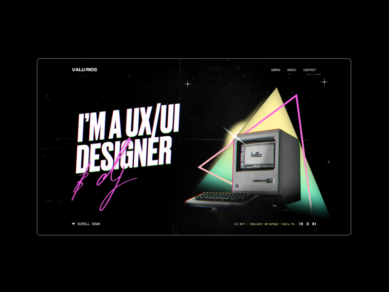 Valu Rios personal website synthwave retrowave gaming game design oldschool uidesign ui 80s style 80s web design web