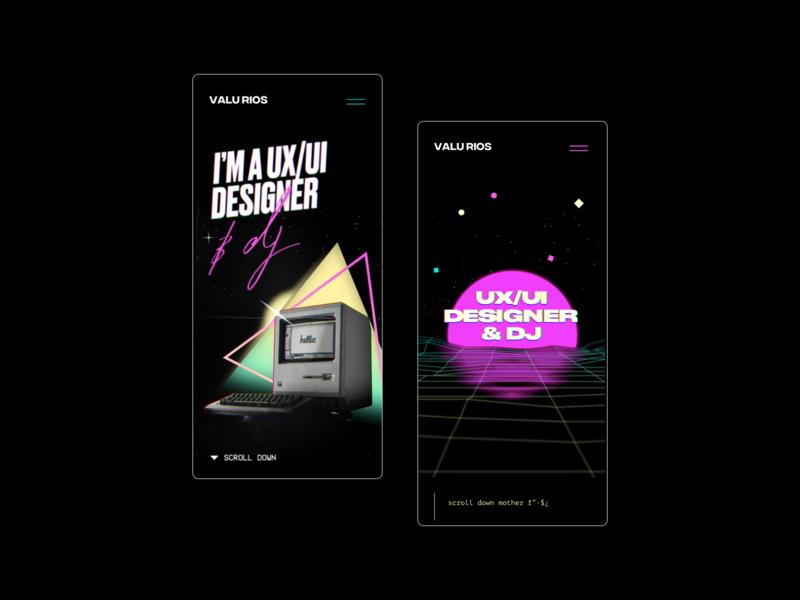 Valu rios personal website black website webdesign oldschool synthwave retrowave retro design 80s style 80s mobile ui ui design ui