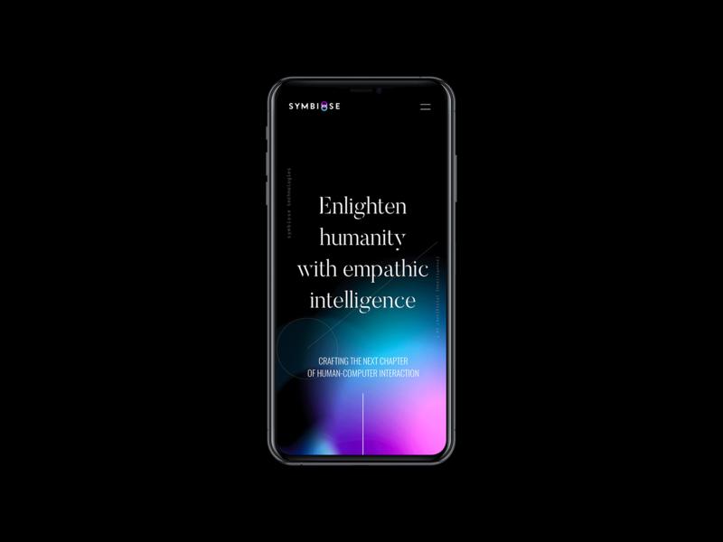 Symbiose abstract design abstract gradients apps artificial intelligence startup ai black website web ux ui design web design ui branding design brand