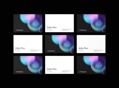 Symbiose bussines cards visual identity abstract gradient bussines card artificialintelligence branding brand