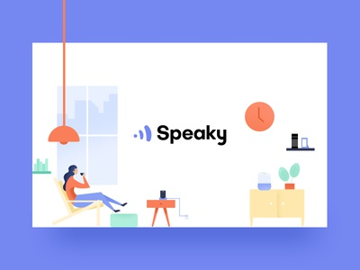 Illustration for Speaky.ai alexa google home penthouse loft colorful kuilder timo speaky character illustration modern
