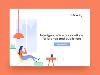 Landingpage Speaky.ai version 2 coffee iphone modern loft alexa home google speaky kuilder timo colorful illustration