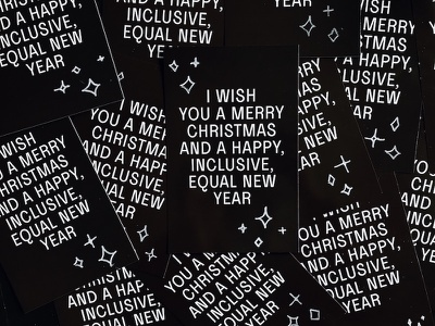 Merry Christmas and an Equal New Year white print card black gay inclusive 2019 year new christmas merry equal inclusivity diversity equality