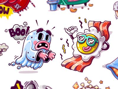 Kik Messenger Stickers relax chilling bacon fried egg ui ux design sticker pack mascot design identity illustrations game art ghost cartoon character branding app stickers