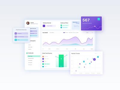 Nano Insights: Dashboard Design visualization graph data web app ux dashboard ui clean minimal uidesign uiux ui dailyui dashboard