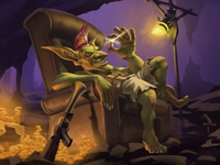 Streamer Artwork: Cave Goblin Counting His Riches! video games character design illustration gaming graphic art