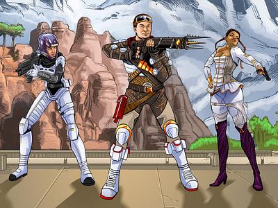 Illustration: Entering the World of Apex Legends! fantasy digital painting character design game development graphic art video games illustration apex gaming apex legends