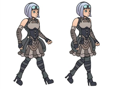 Sprite Sheet: Steampunk Anime Character frames animation sprite sheet anime