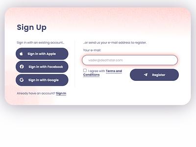 Daily UI 001 — Sign Up form sketch dizen prototype responsive css 3 html 5 web flat minimal ux ui dailyui