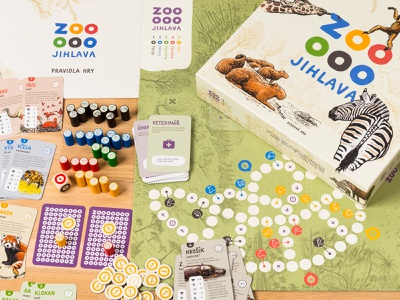Board game for Zoo Jihlava custom font dizen wood board game jihlava zoo design