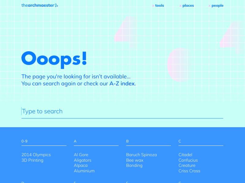 Daily UI 008 — Archmaester 404 404 daily grid aquamarine blue bold inspiration webdesign ux ui