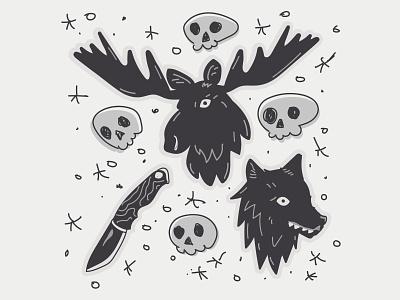 Wolf and Moose Flash knife skulls skull flat moose wolf illustrator illustrations illustration vector design