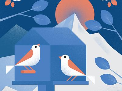 Sparrows bird illustration geometric design geometric art geometric bird trees tree birdhouse photoshop texture vector sparrow birds illustraion illustrator