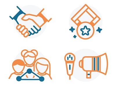 Icons WIP — commitment, motivation, teamwork, communication badge communication teamwork commitment handshake motivation icon pack icon set icons icon web illustration vector ui  ux ui design