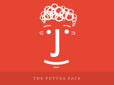 Futura Face typography type font text sans serif futura face emotion emoticon smiley punctuation male man smile curly hair red colour bright flat