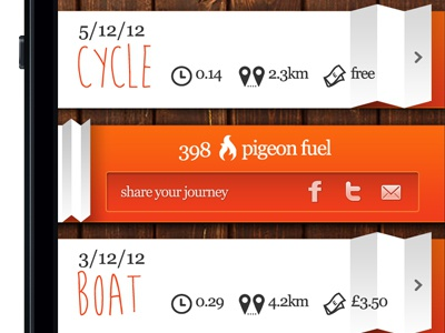 Idea for a commuting app - Shot 02 georgia app pigeon fuel points iphone commuter tourist cycle boat wood flames orange cost distance icons social