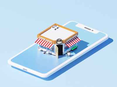Coffee-shop motion design shop store coffee coffeeshop isometric animation video isometric design flat after effects loop c4d 3d 2d gif animation