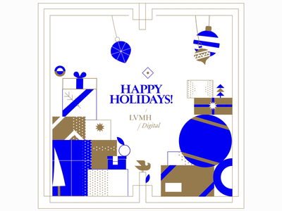 LVMH Xmas Poster ui design colors shape layers flat illustration loop gif 2d after effect animation poster gift card holidays