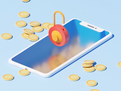Save your money motiondesigner cinema4d c4d 3d animation lock animation iphone animation iphone isometric animation isometric motiondesign motion illustration colors loop gif after effects flat 3d character animation