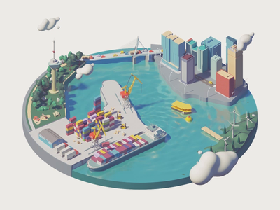 Isometric City c4d city isometric city mobile isometric render isometric animation isometric cinema 4d c4d 3d animation truck mobile 3d motion design illustration after effects design loop character gif animation