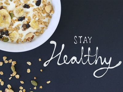 Food Typography for Nestle - Stay Healthy advertising yoghurt nestle brand campaign social media food typography