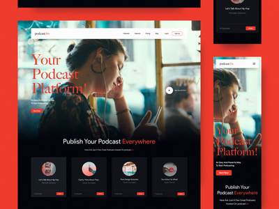 podcast.fm Website communication dialogs storytelling music podcasts podcast modern interaction website concept minimal web design layout ux ui