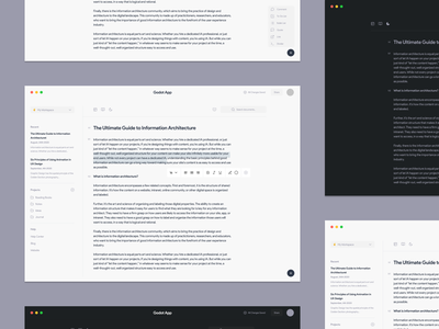 Godot IOS App Exploration organizer documents articles godot wireframe prototype editor text ios modern interaction details concept minimal clean design layout ux ui