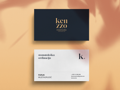 Kenzzo Rebrand Exploration bussines card mark symbol typography dental clinic dentistry dentist exploration rebrand visual language visual identity brand identity branding brand logotype logo details clean minimal design