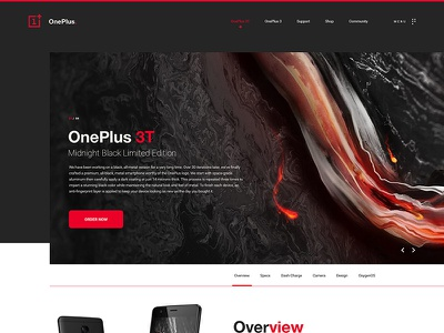 OnePlus 3T Website Concept colors black oneplus modern clean layout design web website ux ui