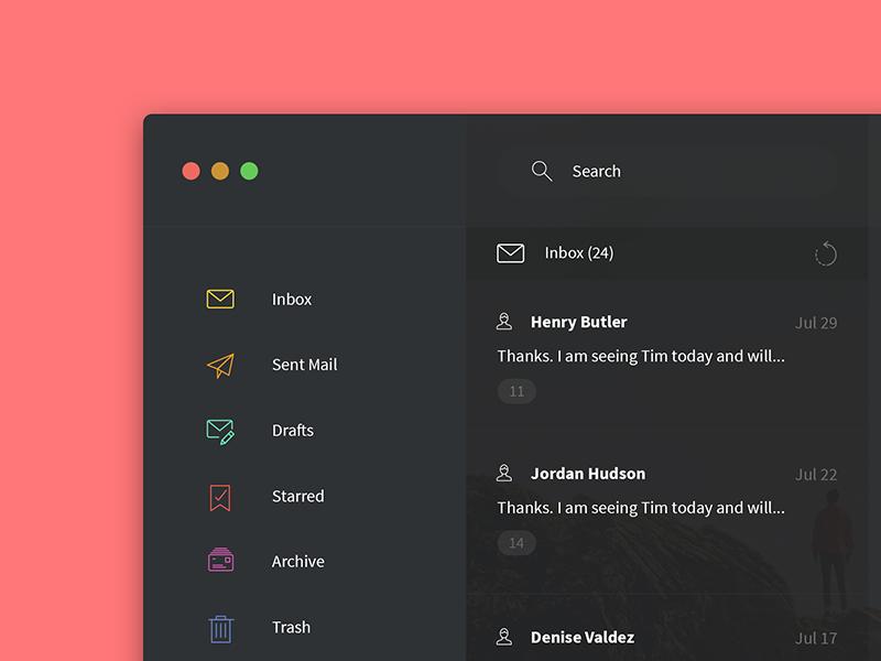 Dark UI Mail