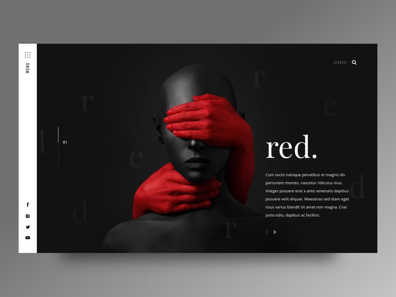 red. color red tadder details photography dark layout design web ux ui