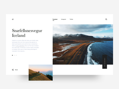 Snæfellsnesvegur website clean gallery photgraphy iceland minimal layout uidesign web ux ui