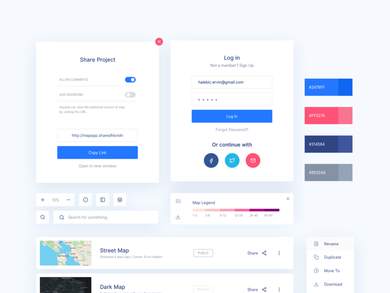Map UI Exploration tool platform dashboard visual exploration concept legend app style guide components map ux ui