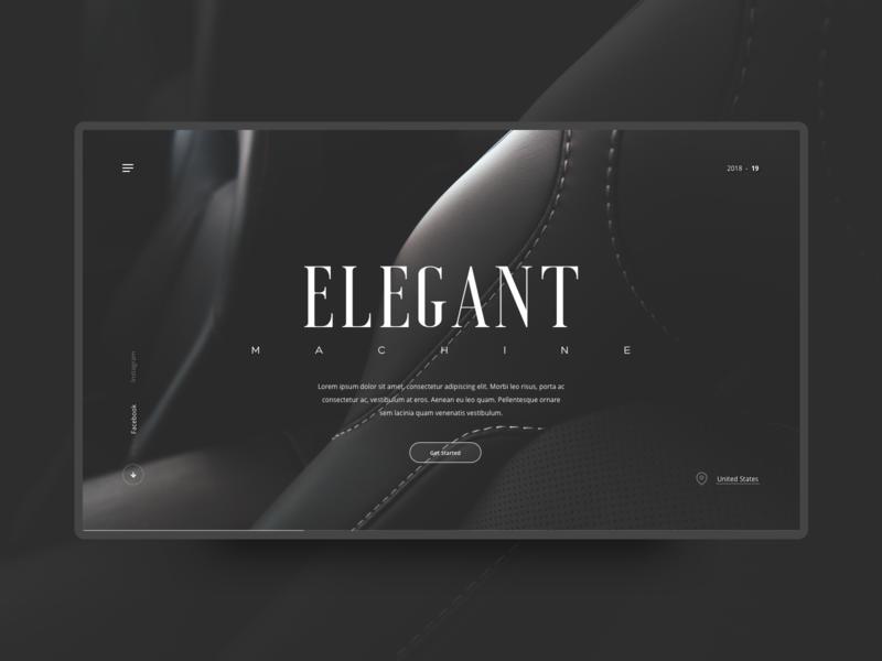 Machine dark visual design interface design interaction landing page automotive typography modern concept details minimal design web ux layout ui