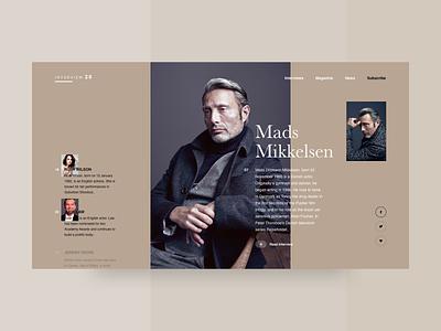 Mikkelsen website articles interaction interface judelaw ruthwilson interviews landing madsmikkelsen magazine minimal layout web ux ui
