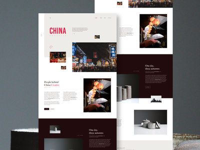 China Creative photography interface design landing page grid layout modern details clean minimal concept exploration adobexd typography creative china layout colorful webdesign web ux ui