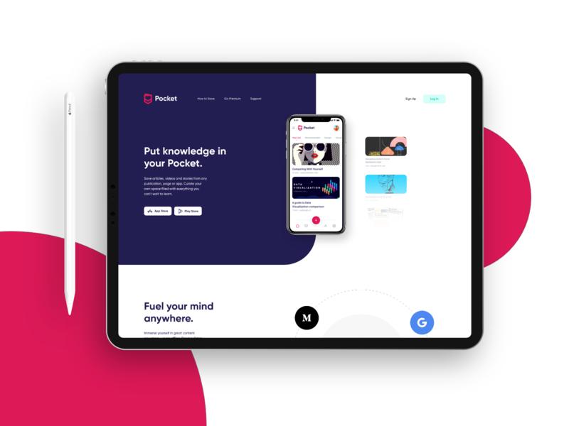 Pocket Brand Redesign typography logo branding interface interaction landing ios concept app details website colors web design layout ux ui