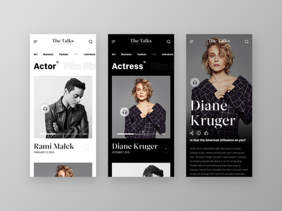 The Talks - Mobile UI Concept actress actor interaction film ios white dark web app clean layout concept app concept interviews talks ux ui