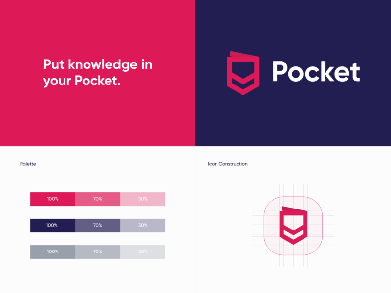 Pocket Logo Redesign visual identity logotype iconography symbol modern clean typography reading save exploration branding graphic  design design icon app pocket concept redesign logo