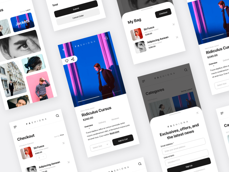 Fashiona interaction shop modern photography iphone ios e-commerce details clean concept online store fashion app minimal layout ux ui