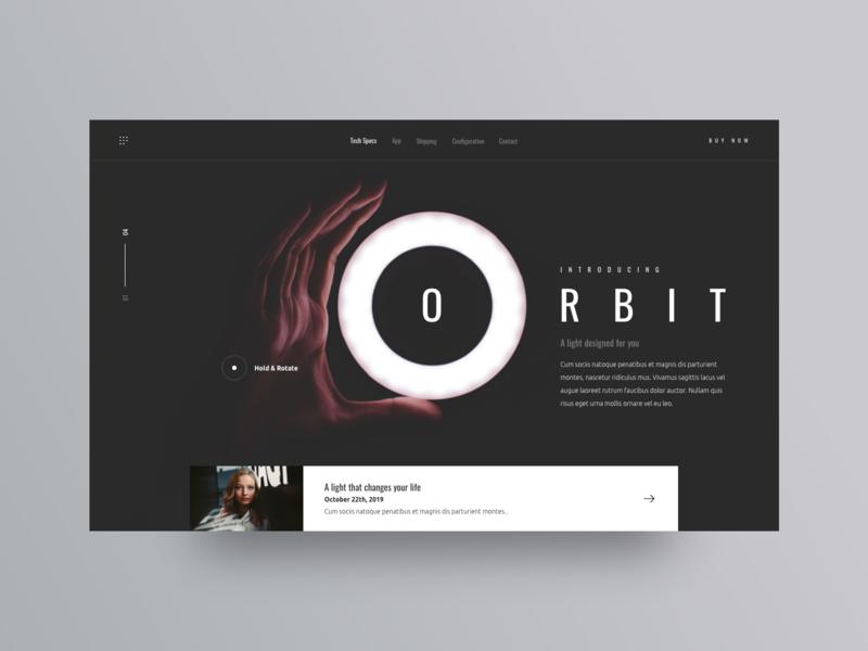 Orbit product shop light interface interaction landing modern details website concept minimal clean web design layout ux ui