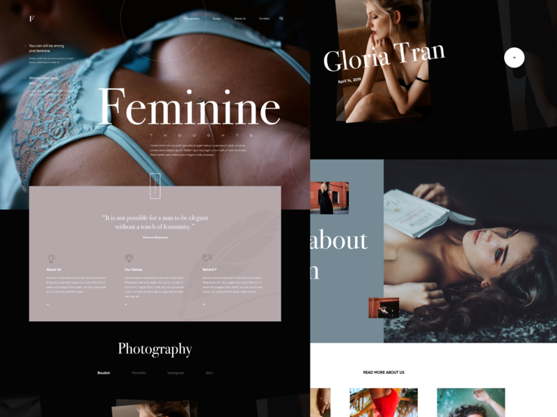 Feminine Thoughts woman boudoir photograhy dark interaction landing modern details website clean web design layout ux ui